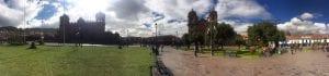 Panorama Aufnahme Plaza de Armas Cuzco mit Kathedrale