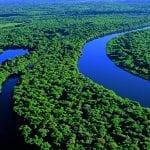 Peruanisches Amazonasgebiet von oben mit Flussläufen und Regenwald