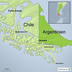 Landkarte Expeditionskreuzfahrt Feuerland und Patagonien