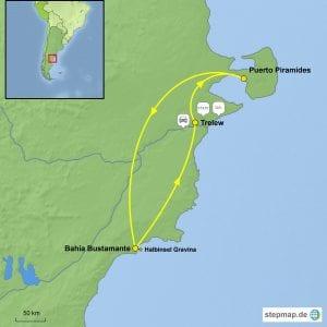 Landkarte Reisebaustein Halbinsel Valdés