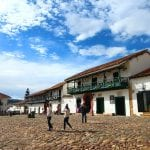 Villa de Leyva gepflasterte Plaza, Kolumbien