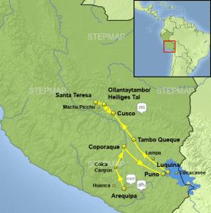 Karte zur Ebike Tour durch die Anden in Peru
