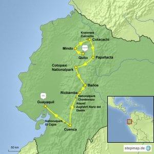 Landkarte Gruppenreise Aktivtour Ecuador