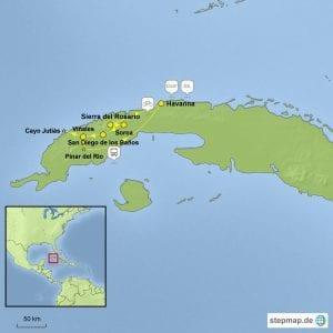 Landkarte Kurzreise mit dem Rad durch Kubas Westen