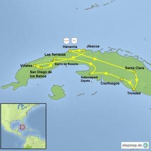 Landkarte Fahrradreise Kuba