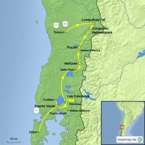 Landkarte E-Bike-Reise im chilenischen Seengebiet