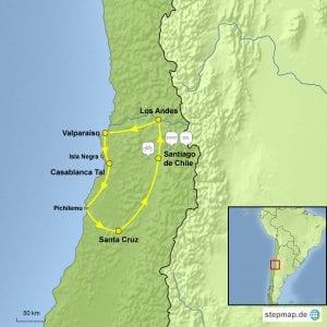 Landkarte E-Bike-Gruppenreise chilenisches Weingebiet