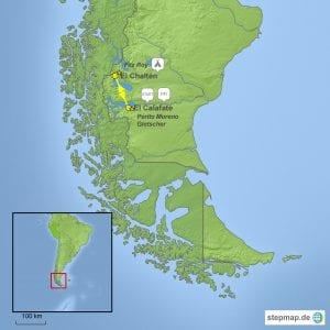 Landkarte Trekkingreise Fitz Roy und Perito Moreno in Argentinien
