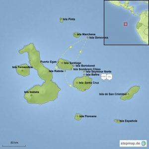 Landkarte Galápagos mit der Motoryacht Angelito