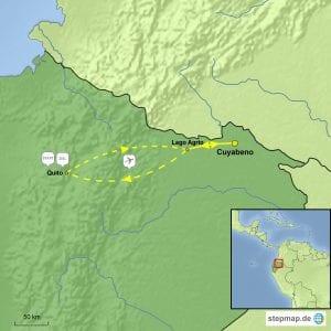 Landkarte Reisebaustein: Im Schwemmgebiet des Cuyabeno