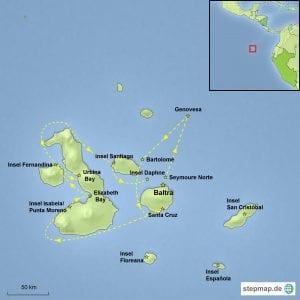 Landkarte Galápagos-Kreuzfahrt Motorsegler Nemo I