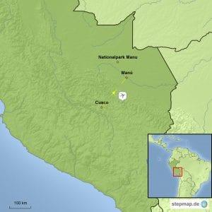 Landkarte Reisebaustein Manu - Eines der letzten großen Wildgebiete