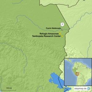 Landkarte Reisebaustein Tambopata Research Center