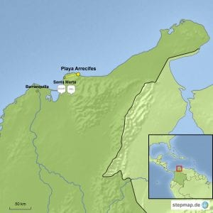 Landkarte Reisebaustein Tayrona Nationalpark