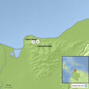 Landkarte Baustein Trekking Ciudad Perdida